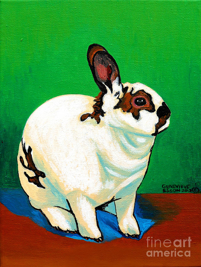 Rabbit Painting - Queenie by Genevieve Esson