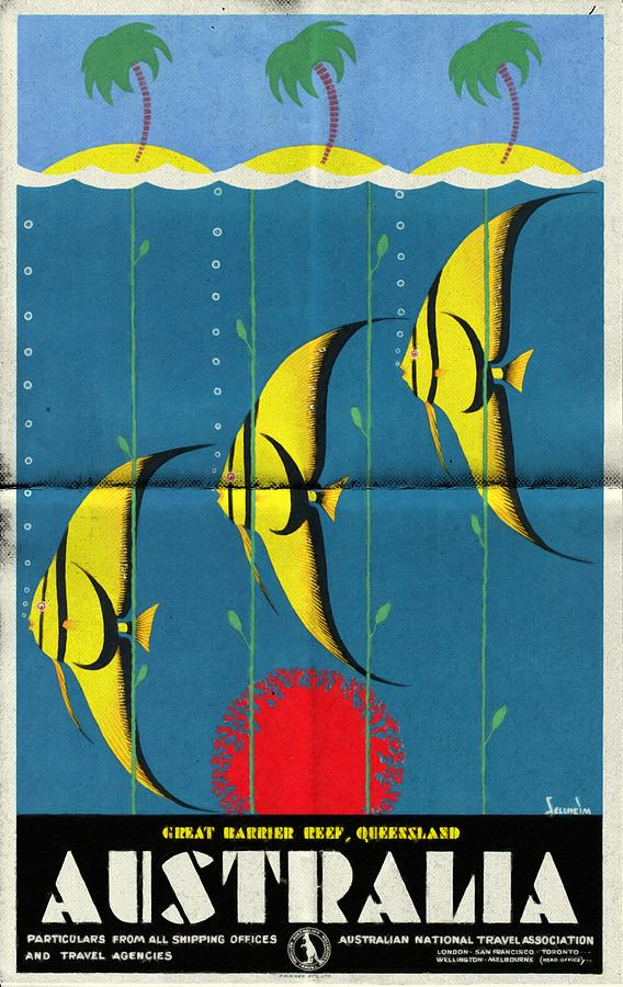 Vintage Poster Mixed Media - Queensland Great Barrier Reef - Vintage Poster Folded by Vintage Advertising Posters