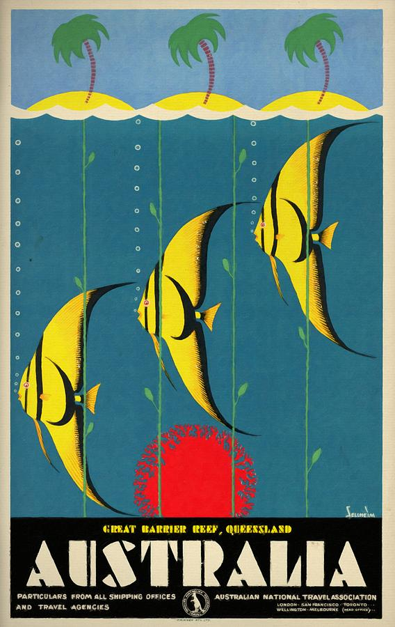 Vintage Poster Mixed Media - Queensland Great Barrier Reef - Vintage Poster Vintagelized by Vintage Advertising Posters