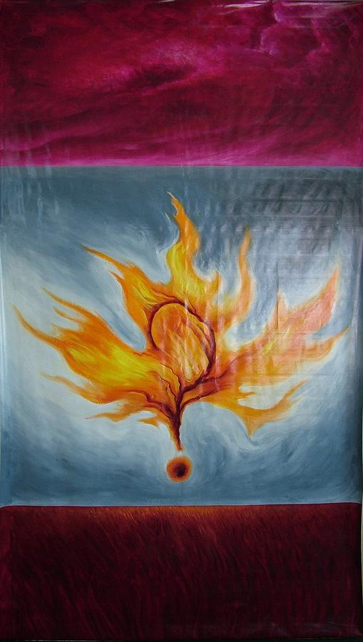 Flag Painting - Question Of Fire by Charles Johnston
