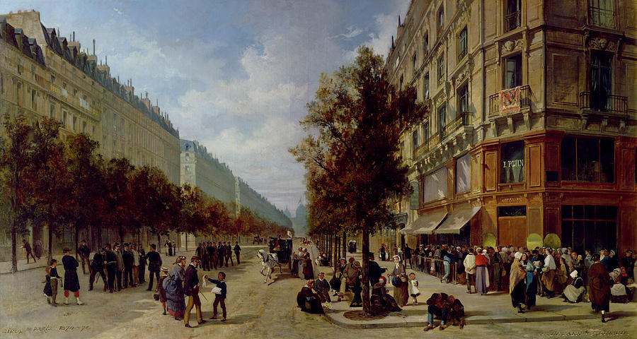 Siege Painting - Queueing At The Door Of A Grocery by Jacques Guiad