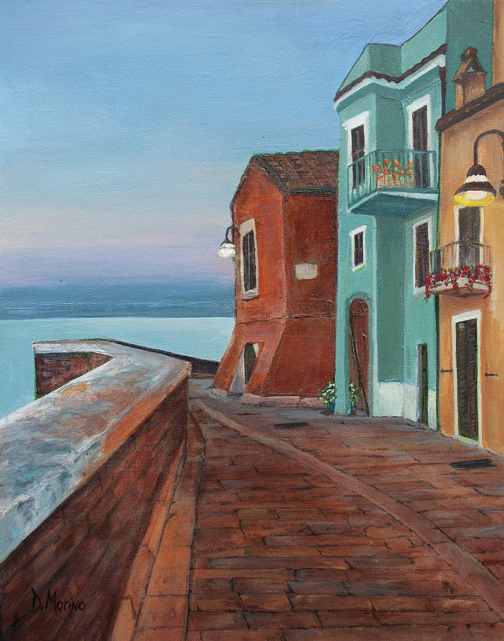Dusk Painting -  Quiet Sicilian Town by Diana Marino