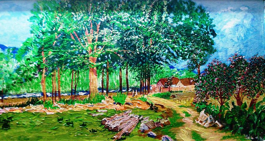 Tree Painting - Quiet Countryside by Narayan Iyer