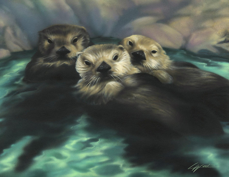 Otters Painting - Quiet Cove by Lucy West
