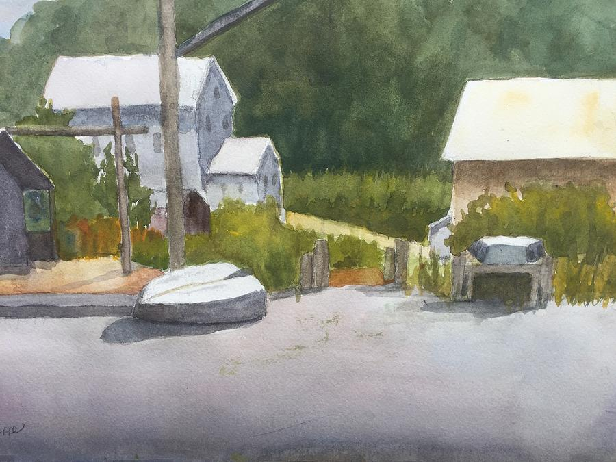 Quiet Day At The Boat Yeard  Painting by Peggy Poppe