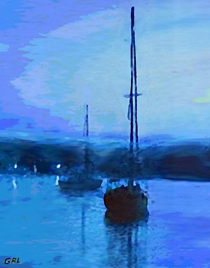 Original Painting - Quiet Evening Maryland Chesapeake Bay Detail Multimedia Fine Art Painting by G Linsenmayer