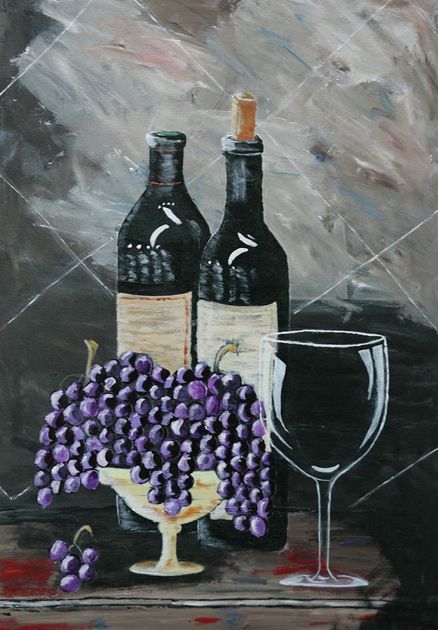Wine Painting - Quiet Evening by Robin Lee