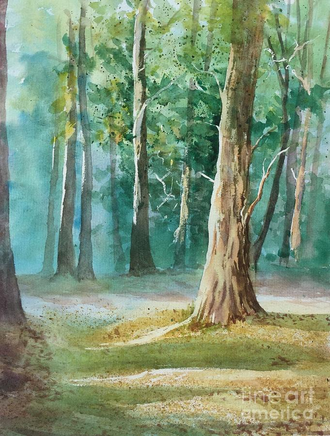 Quiet Forest Painting by Watercolor Meditations