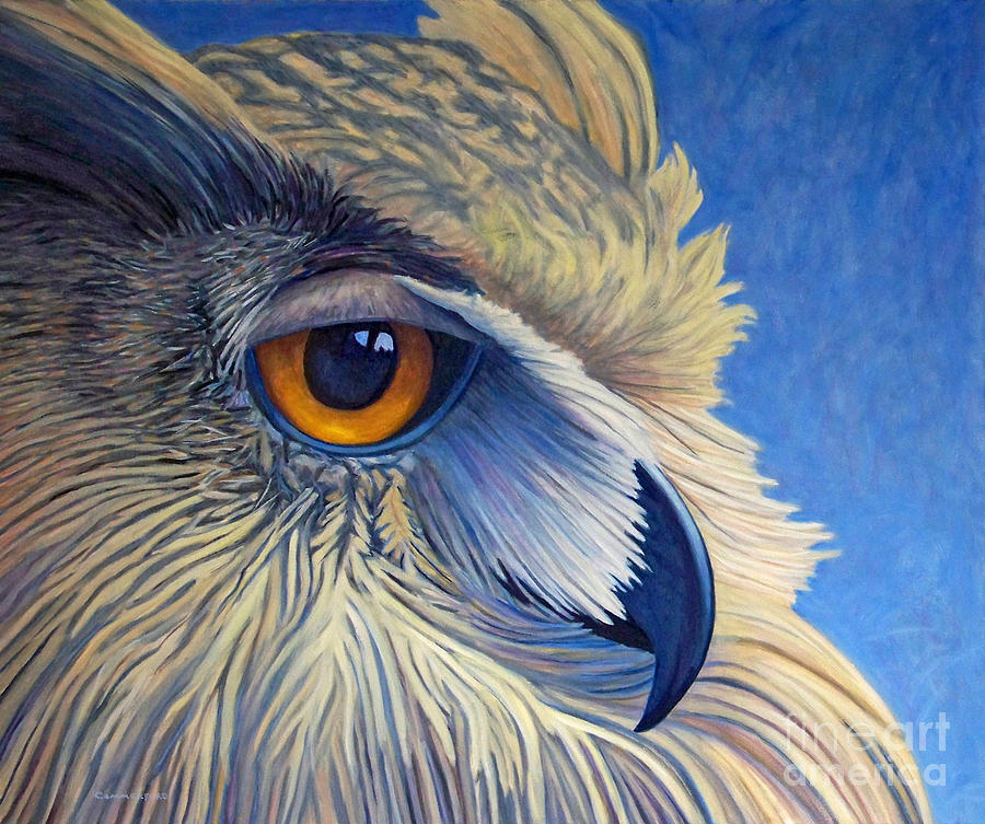 Owl Painting - Quiet Joy by Brian  Commerford