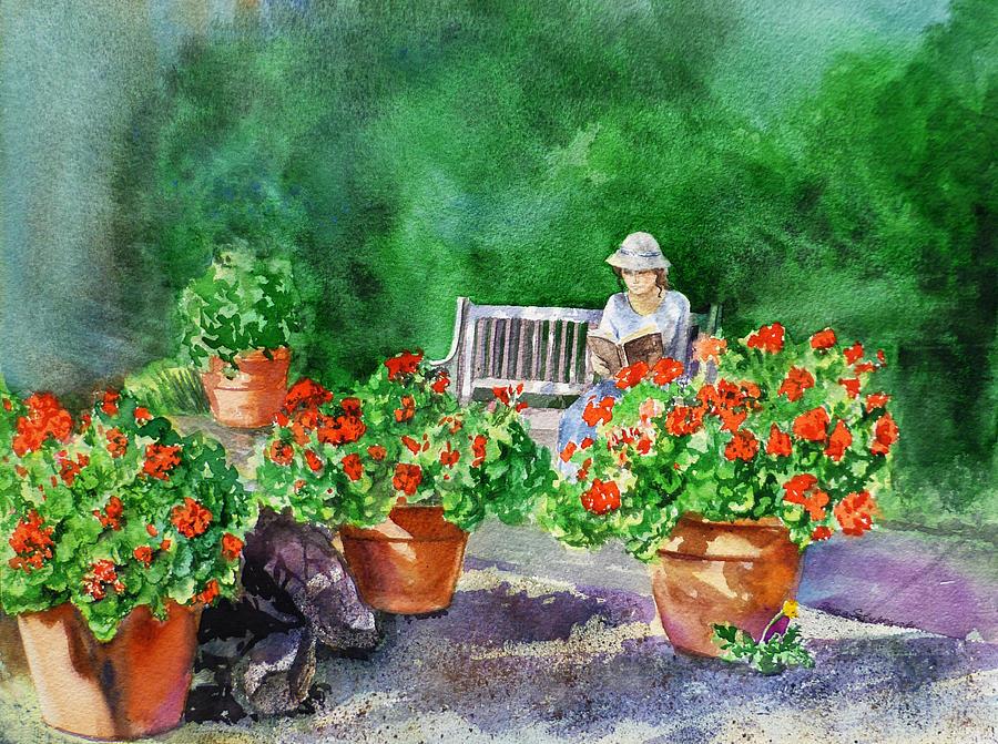 girl painting quiet moment reading in the garden by irina sztukowski - The Girls In The Garden
