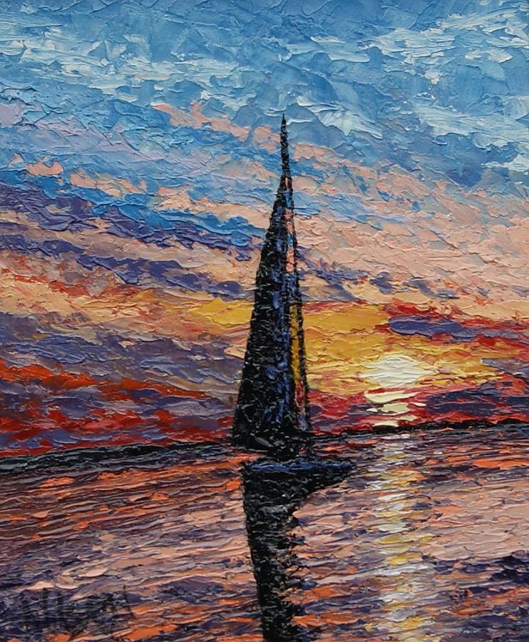 Sail Painting - Quiet Sail - Award Winning by Chrys Wilson