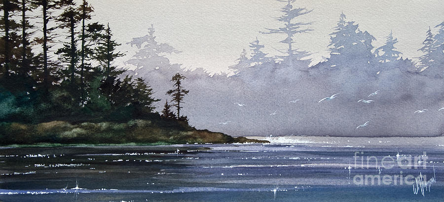 Landscape Framed Print Painting - Quiet Shore by James Williamson