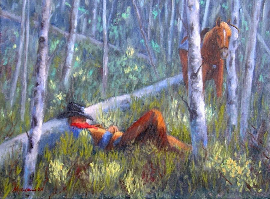Cowboy Painting - Quiet Siesta by Debra Mickelson