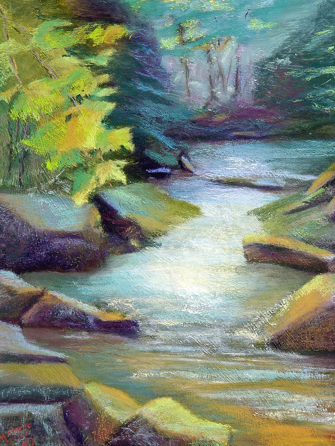 Waterscape    Quiet Summer Stream In The Mountains.  Painting - Quiet Stream by Melanie Miller Longshore