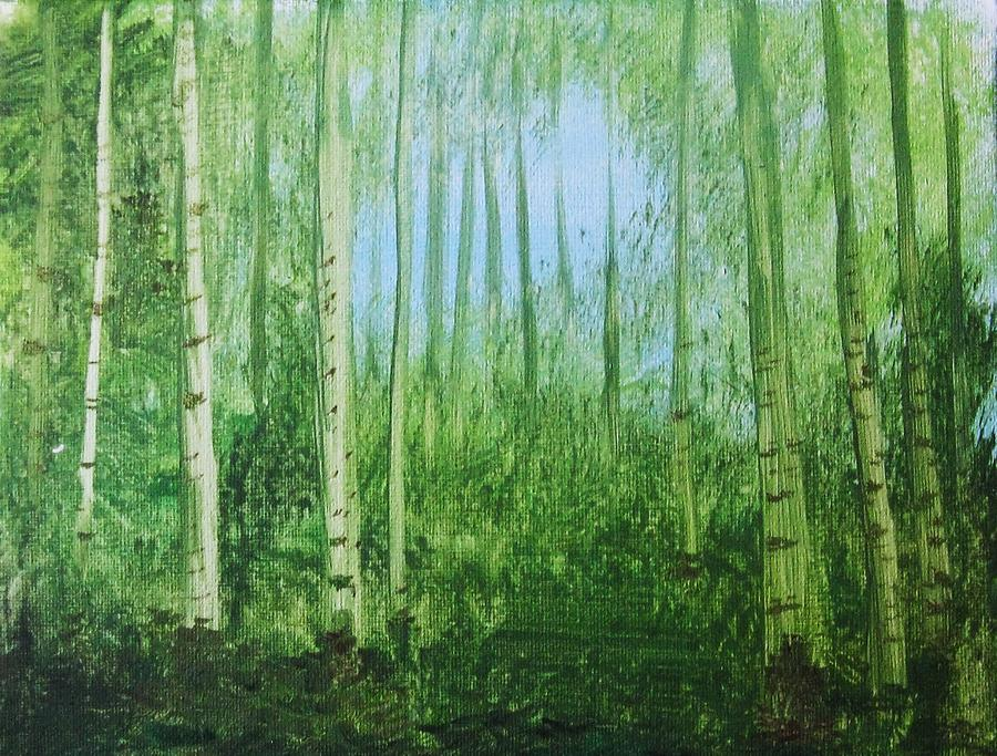 Woods Painting - Quiet Stroll by Trilby Cole