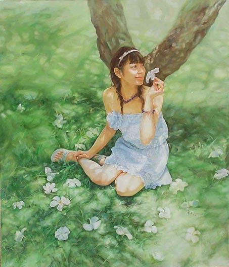 Girl Painting - Quiet Summer by Shaojun Li