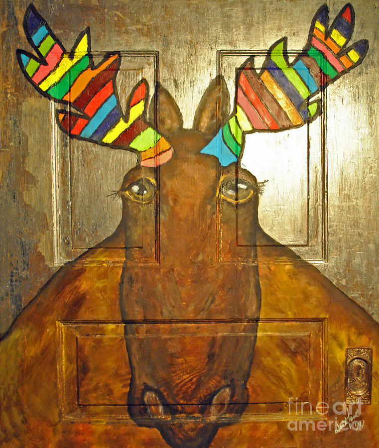 Quigley Painting - Quigley The Rustic Colorful Moose by Jost Houk