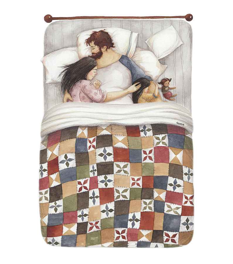 Soosh Painting - Quilt cuddles by Soosh