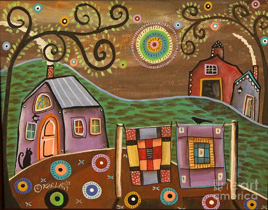 Cat Painting - Quilt Dream by Karla Gerard