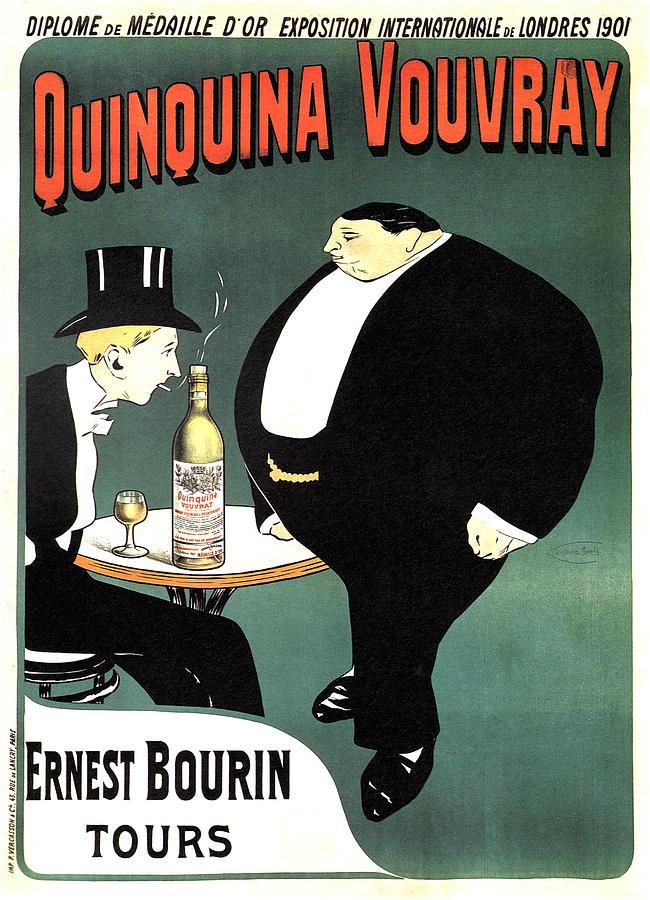 Quinquina Vouvray - Ernest Bourin Tours - Vintage Art Nouveau Poster - Aperitif Mixed Media