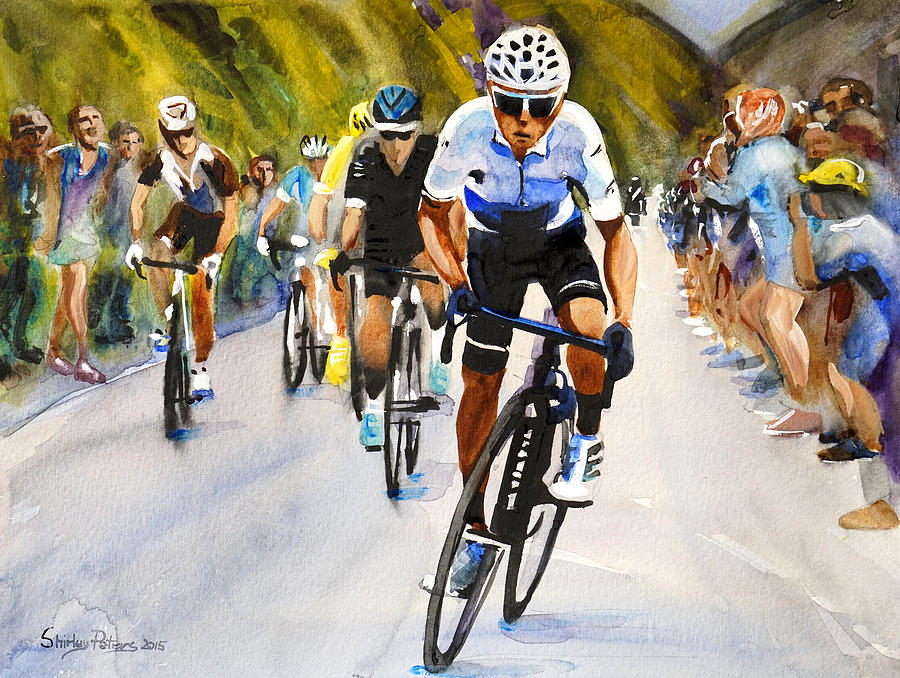 Cycling Painting - Quintana In White by Shirley Peters