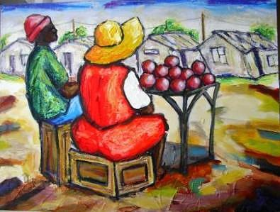 South Africa Painting - Quite Day by Nicky Chovuchovu