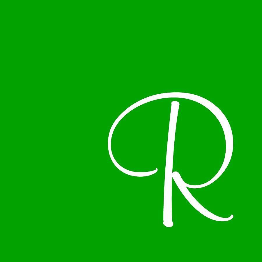 R Digital Art - R In White Simple Script by Custom Home Fashions