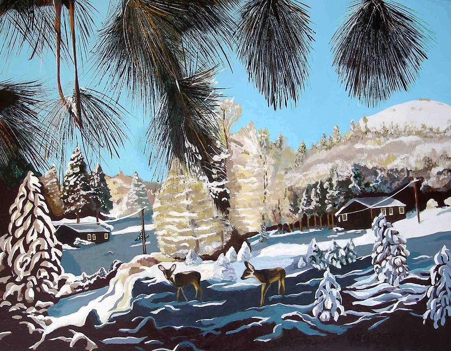 Landscape Painting - R-ranch In The Winter by Olga Kaczmar