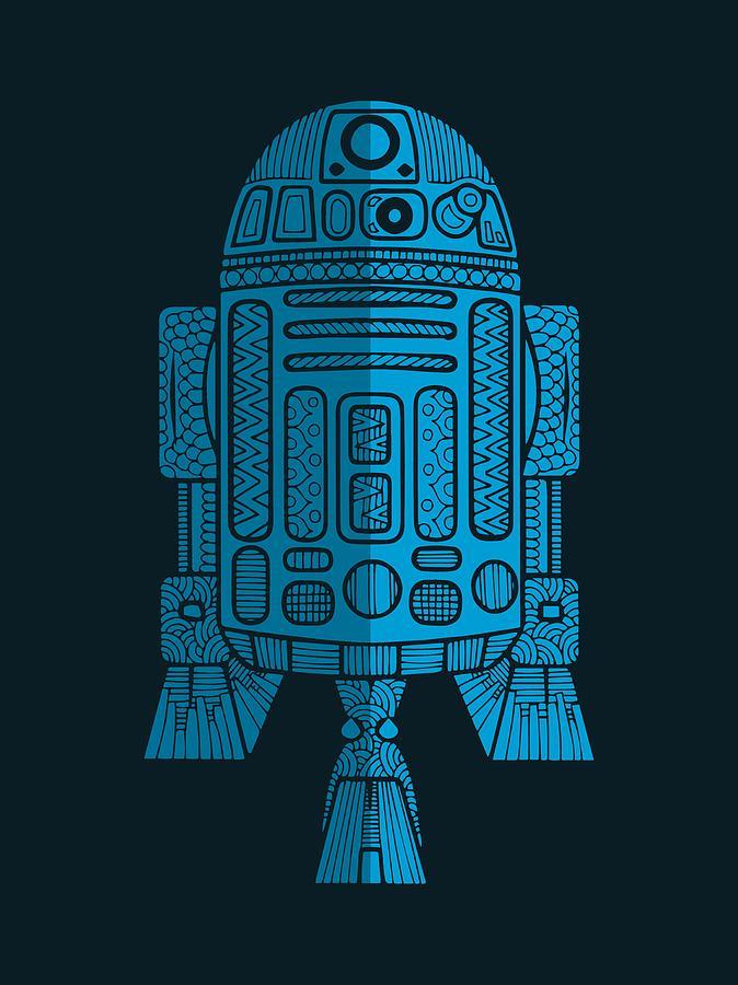 R2d2 - Star Wars Art - Blue 2