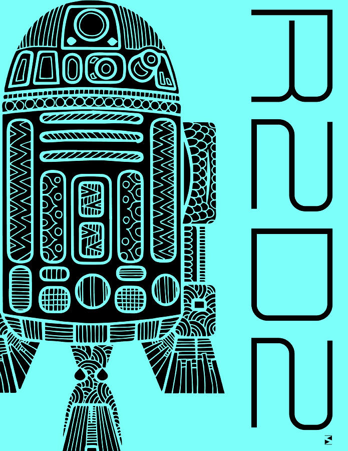 R2d2 - Star Wars Art - Blue Mixed Media