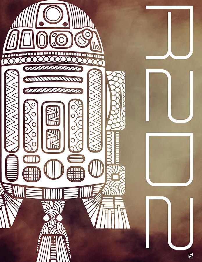 R2d2 Mixed Media - R2D2 - Star Wars Art - Brown by Studio Grafiikka