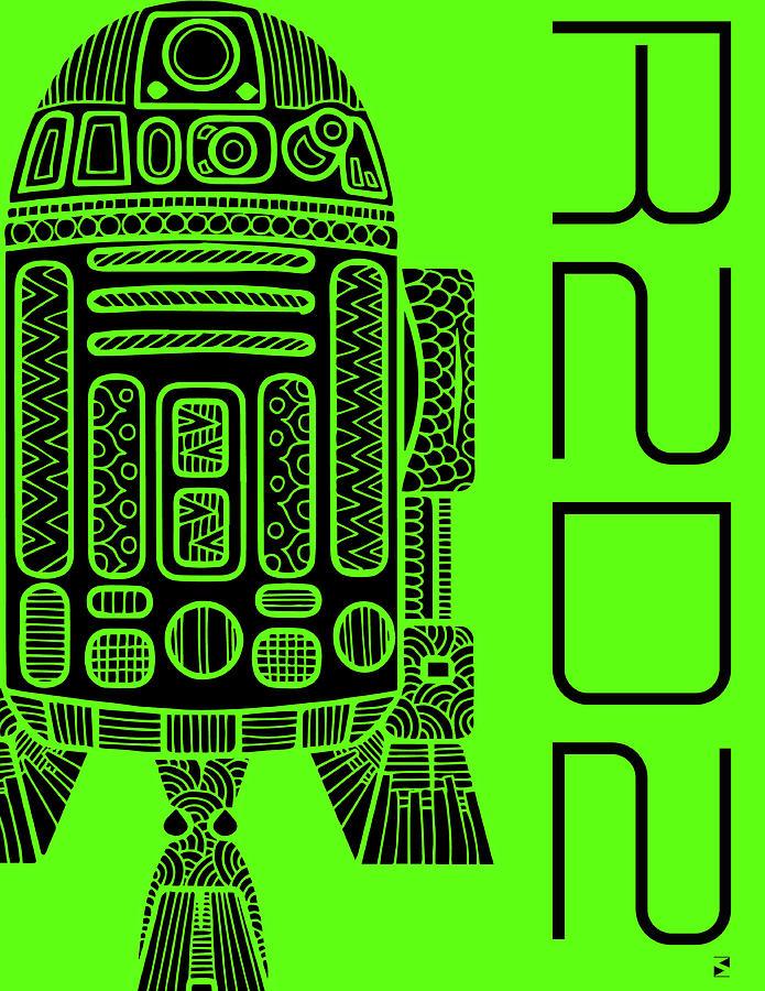 R2d2 - Star Wars Art - Green Mixed Media