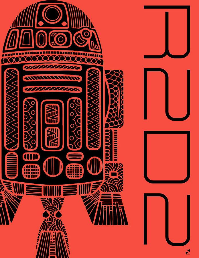 R2d2 - Star Wars Art - Red Mixed Media