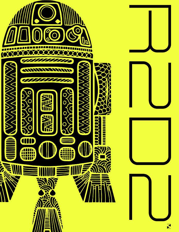 R2d2 - Star Wars Art - Yellow Mixed Media