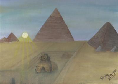 Ra Setting Over Giza Painting by Ginger Strivelli