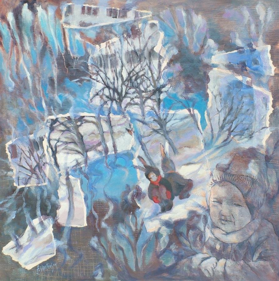 Acrylic Painting - Rabbit Game by Ekaterina Mortensen