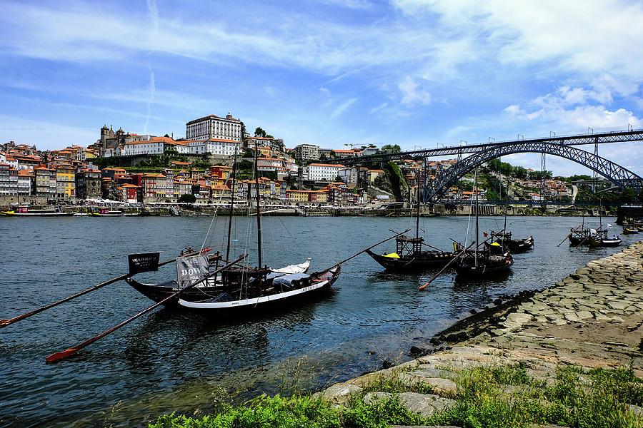 Rabelo Boats And Porto Skyline Photograph
