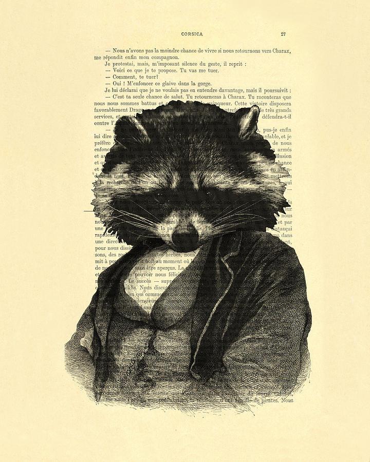 Raccoon Digital Art - Raccoon Portrait, Animals In Clothes by Madame Memento