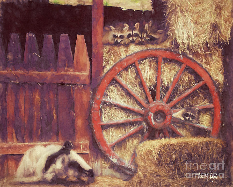 Raccoon Wagon Wheel by Tim Wemple