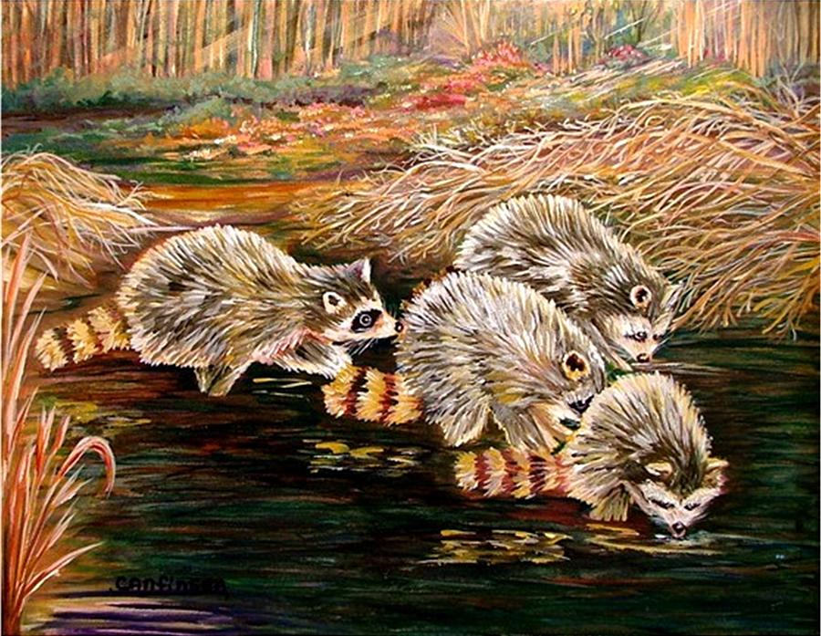 Raccoons Painting - Raccoons At Sunrise by Carol Allen Anfinsen