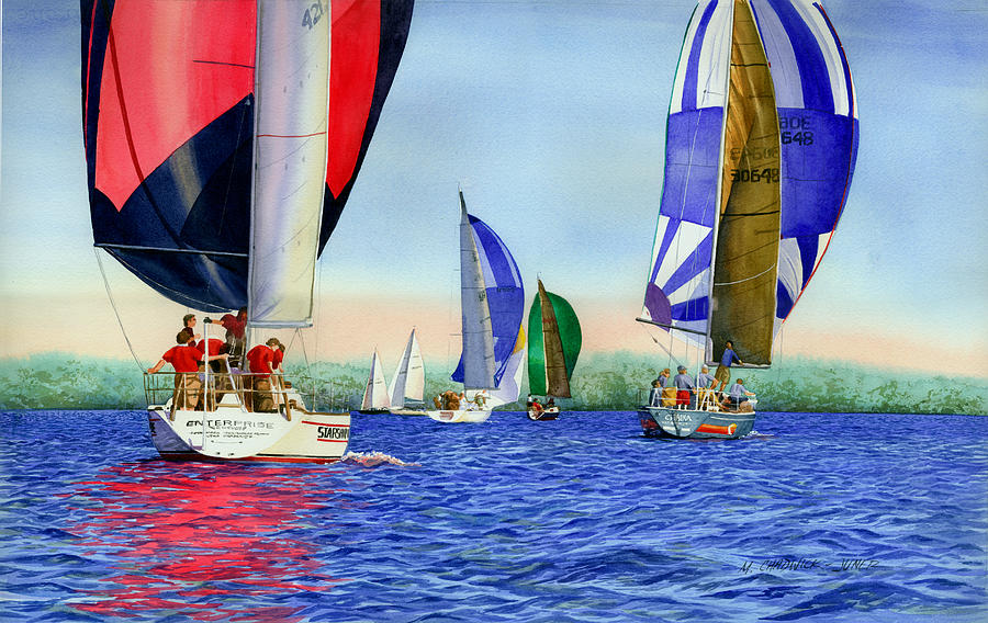 Long Island Sound Painting - Race Night Colors by Marguerite Chadwick-Juner