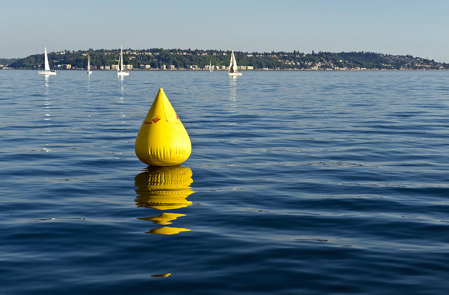 Seattle Photograph - Race Pylon Bouy by Tom Dowd