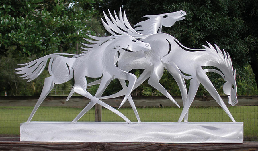 Horse Sculpture - Race The Wind by Mindy Z Colton