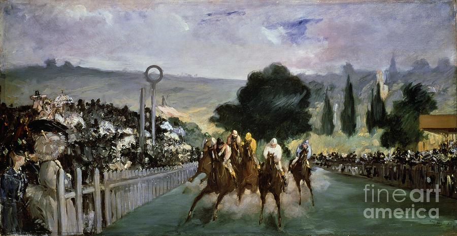 Horses Painting - Races At Longchamp by Edouard Manet