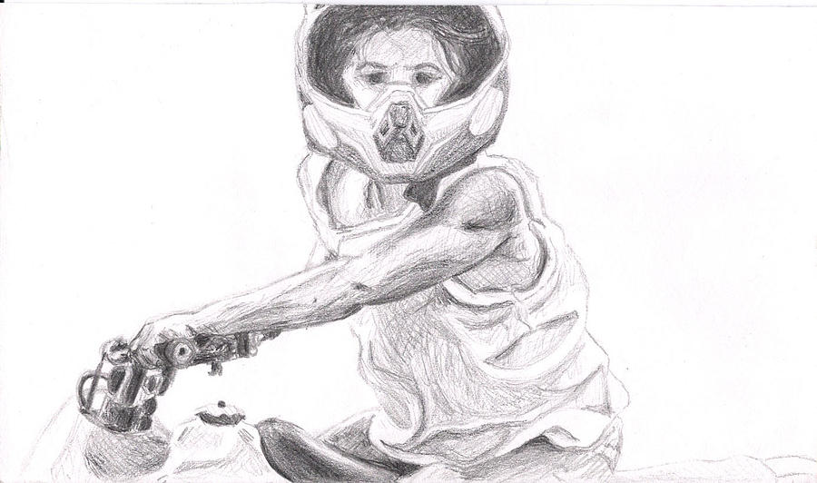 Girl Drawing - Racheal B On Four Wheeler  by Marianne Devine