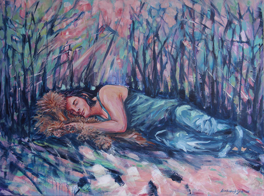 Girl Painting - Rachel In The Sun-splattered Forest by Lisa Kimberly Glickman