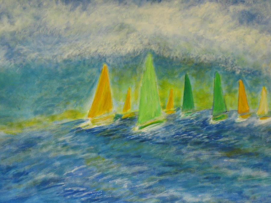 Sailing Painting - Racing Home by John Scates