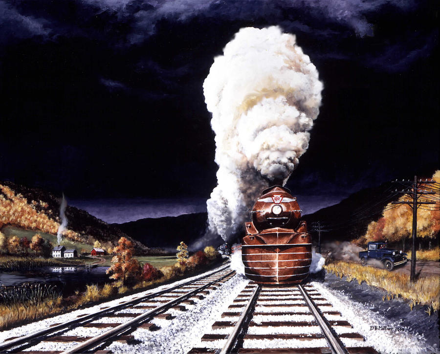 Train Painting - Racing the Storm by David Mittner