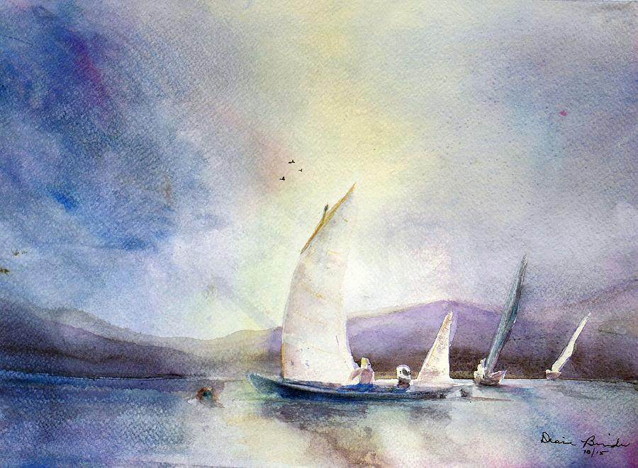 Sailboats Painting - Racing the Storm by Diane Binder