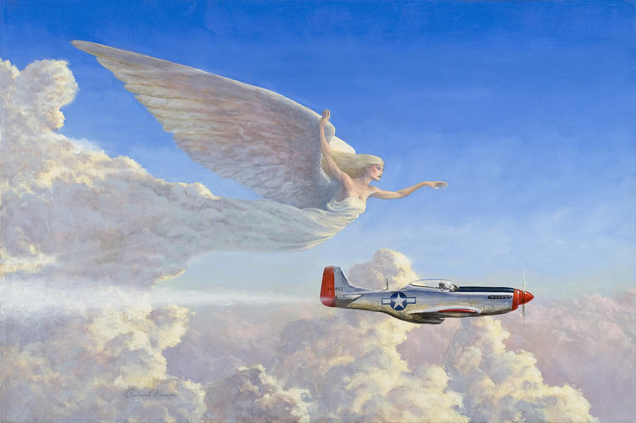 Airplane Painting - Racing The Wind by Richard Hescox